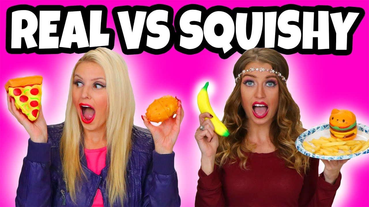 Squishy Toys Vs Real Food : Squishy vs Real Food Challenge. Real Food vs Squishy Toys. Totally TV - YouTube