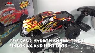 FS Racing FS-53692 1:10 2.4G 4WD Brushless Water Monster Truck Hydroplaning Unboxing and First Look