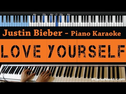 Justin Bieber - Love Yourself - LOWER Key (Piano Karaoke / Sing Along)
