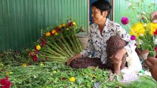 How To Create A Hand-Mixed Flower, Flower Selling  Khmer New Year