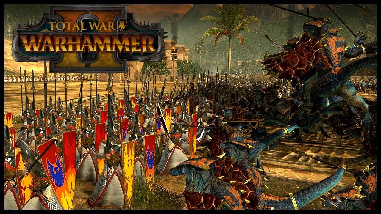 Exclusive Warhammer 2 Total War Gameplay - Lizardmen Vs High Elves - Cinematic Battle - YouTube