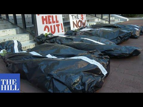 BODY BAG PROTEST at GSA building in Washington