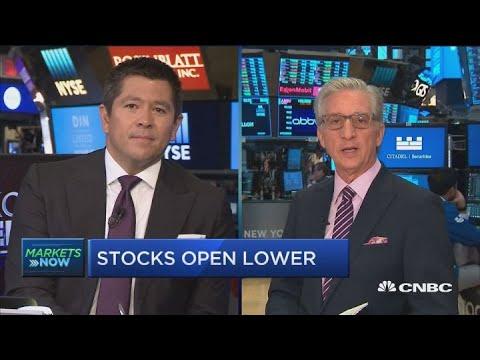 Stocks slip lower at the open as consumer staples leads lag