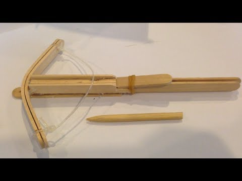 Crossbow from popsicle stick youtube for Cool things made out of popsicle sticks