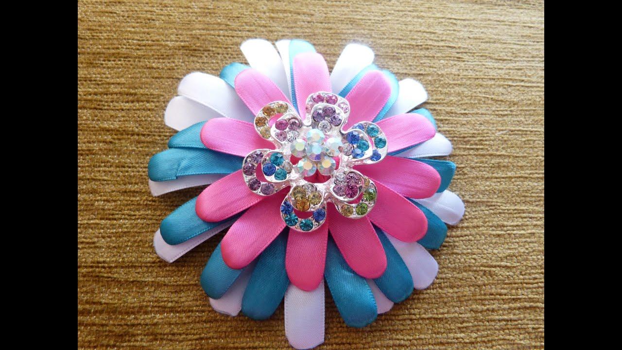 Tutorial flores grandes accesorios para el cabello en - Cintas para decorar ...