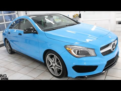 Baby blue wrapped 2016 mercedes benz cla tinted youtube for Mercedes benz blue window tint