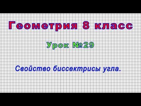 Геометрия 8 класс (Урок№29 - Свойство биссектрисы угла.)