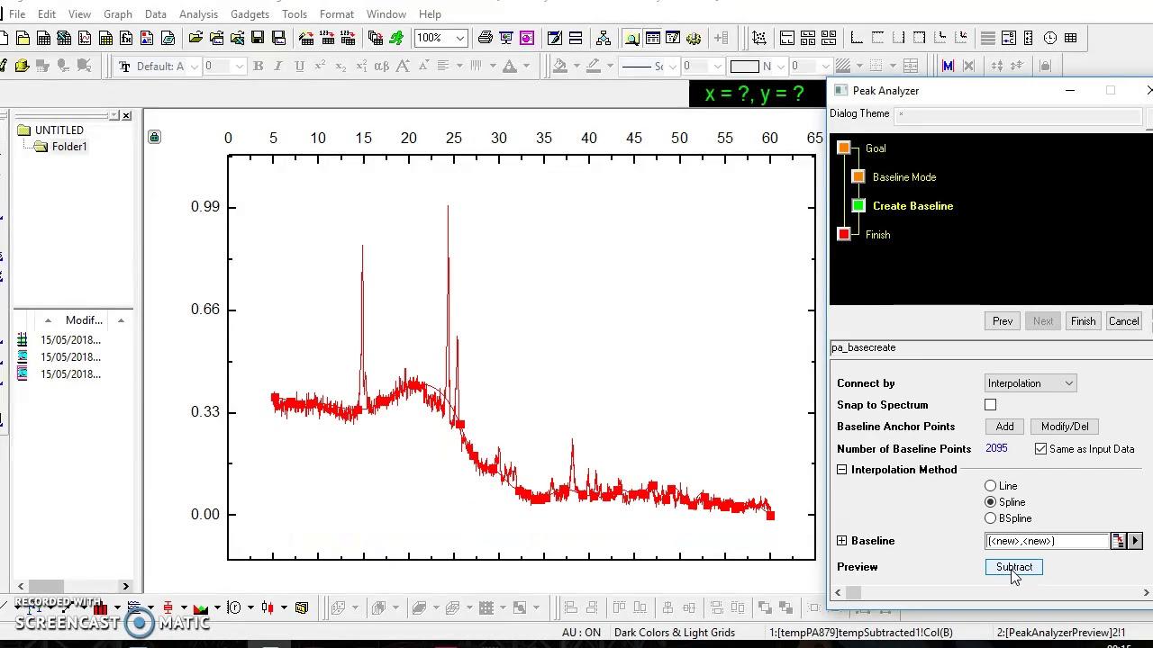 Graficar espectro DRX en Origin 8