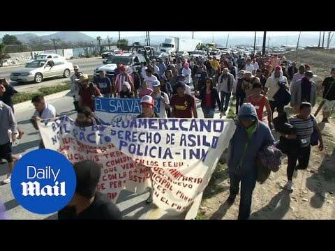Migrant caravan marches towards U.S. consulate in Mexico