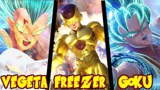 GOKU SUPER SAIYAN BLUE VEGETA SUPER SAIYAN BLUE GOLDEN FREEZER FULL POWER EN JUMP FORCE GAMEPLAY
