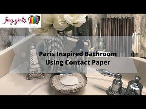 DIY MARBLE CONTACT PAPER BATHROOM WALLS | Bathroom Tour | Bathroom Decor