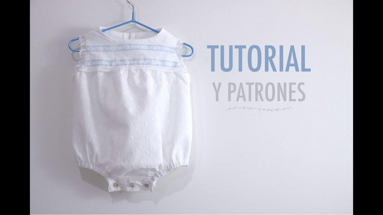 Costura: Pelele encaje para bebés (patrones gratis) - YouTube