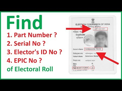 how to find part number and serial number in voter id card in delhi