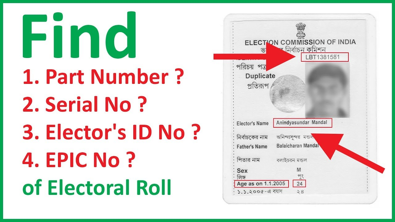 voter id part number and serial number delhi