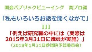 2018年1月31日 参議院予算委員会 浜野喜史議員 vs 加藤勝信厚生労働大臣.
