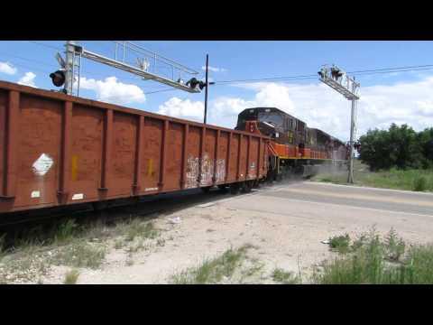 Big SD90MAC Locos on Bad Weed-Grown Railroad Track!