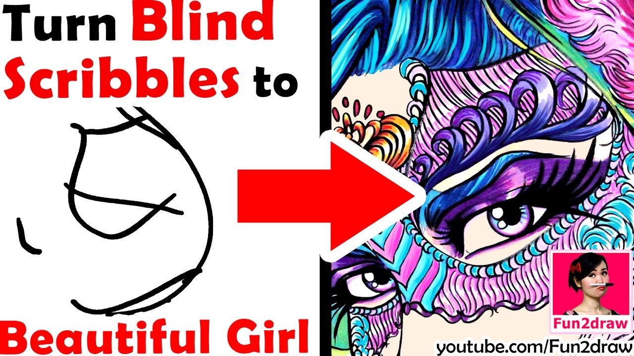 Scribble Into Drawing : Amazing art turn blind scribbles into a beautiful girl
