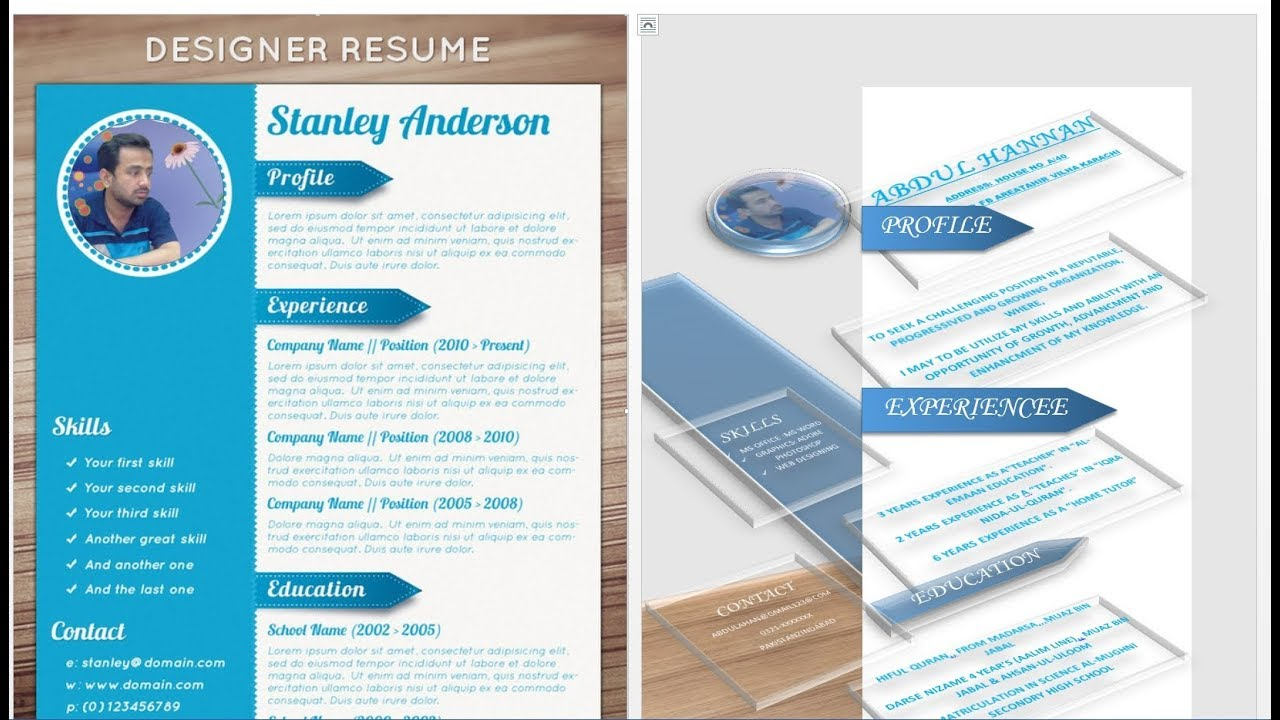 cv resume design tutorial with microsoft word youtube