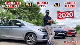 2020 Honda City vs Hyundai Verna vs Skoda Rapid - Best SEDAN? Hindi | MotorOctane