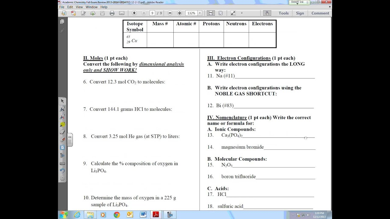 Academic Chemistry FALL Final Exam Review- Free Response ...