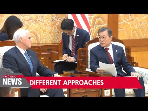 Moon says dialogue, Pence pushes for harder line for denuclearization
