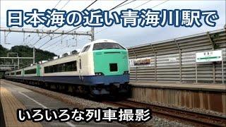 JR青海川駅でいろいろな列車撮影