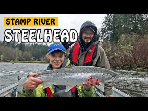 CATCHING WINTER STEELHEAD AND EATING SOUP IN THE RAIN - Stamp River BC Canada | Fishing With Rod