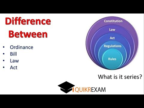 What is difference between ordinance act bill law ? Quikr Exam