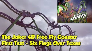 THE JOKER 4D Free Spin Coaster | First Test-Run | Six Flags Over Texas