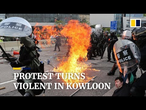 Violence erupts during anti-government protests in Kowloon