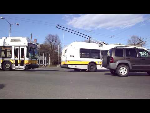 Boston Trolleybuses. (Trackless Trolleys) HD