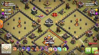 Clash of Clans|Th-10 vs Th-10 best govaho attack strategy 3*4squared bases easily with this army.