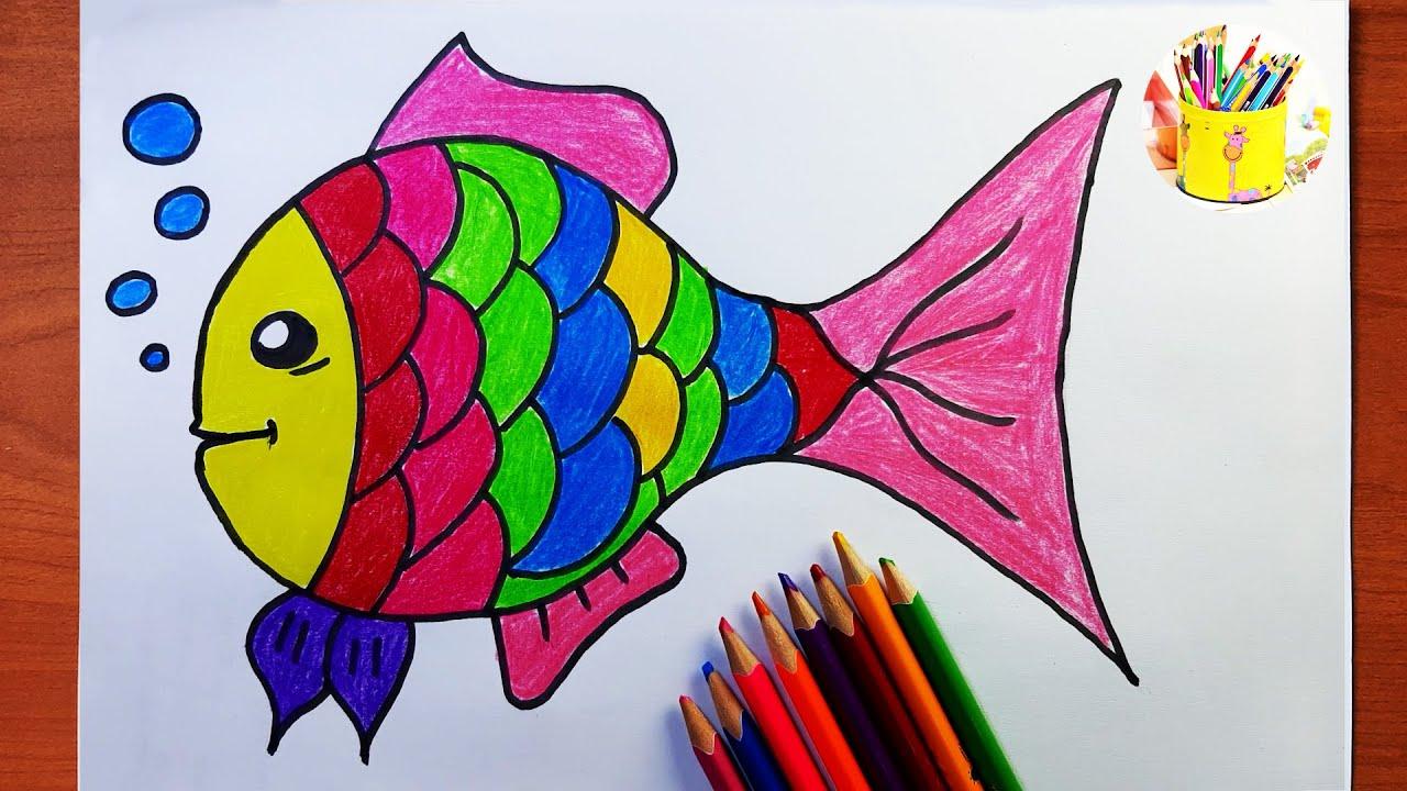 رسم سمكة للاطفال ملونة وجميلة رسم سمكة سهلة جدا Youtube