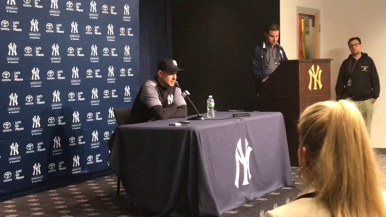 Yankees' Aaron Boone reacts to Aaron Judge injury 4/20/19