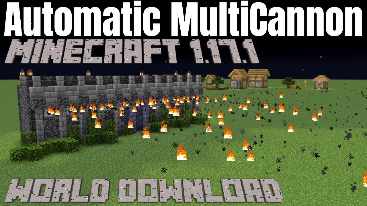 Minecraft Cannon for your Castle Walls   Automatic Multi Cannon Tutorial for Minecraft 1.17 & below