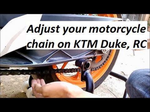 How to Adjust Chain on KTM Duke or RC 390 / 200 Motorcycle.