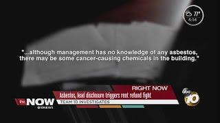 Asbestos, lead disclosure triggers rent refund fight(Team 10 investigates what a renter says happened to him when he leased an apartment in Pacific Beach. ◂ San Diego's News Source - 10News, KGTV, ..., 2016-07-26T23:42:09.000Z)