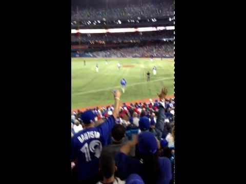 Fan runs onto field, slides into 2nd @Rogers Center - Jays vs. Red Sox. Epic!! This guy is a legend!