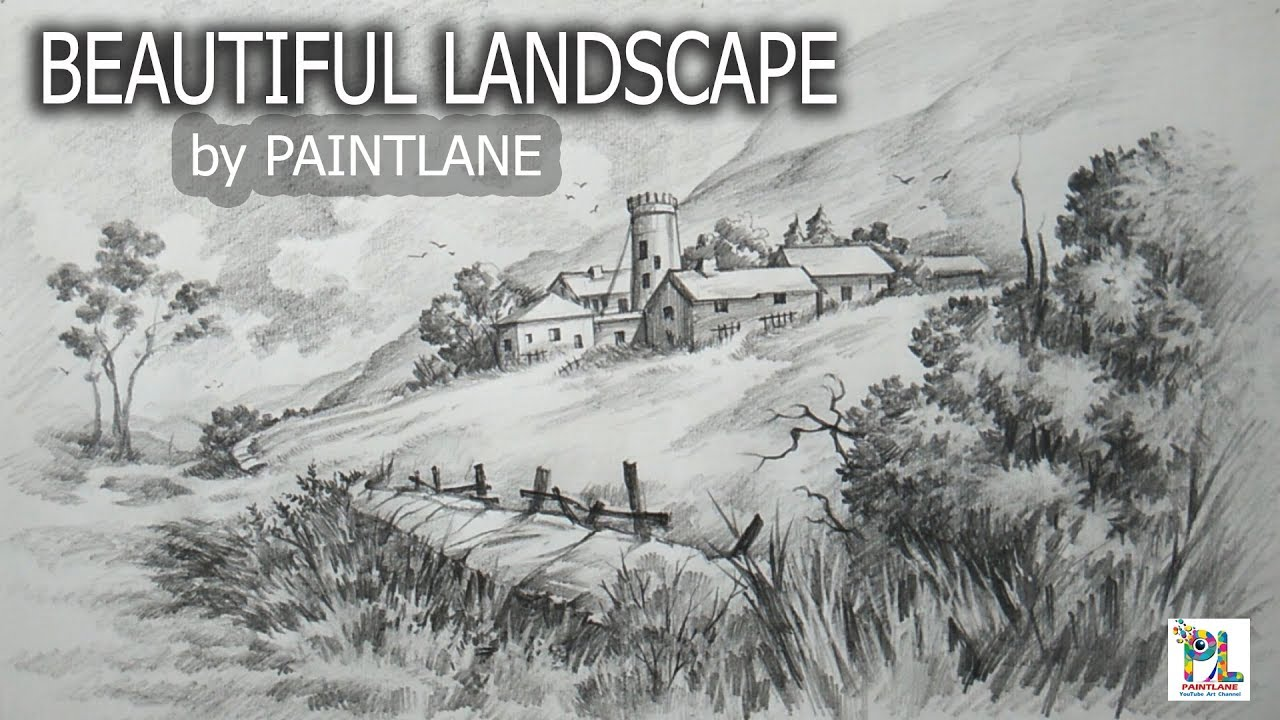 How to draw and shaded a beautiful landscape with step by step sketching drawing tutorial