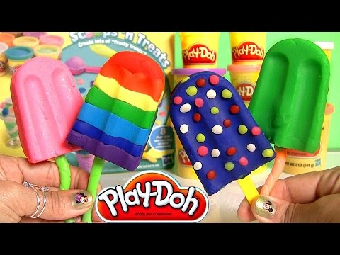 Play Doh Popsicles Scoops 'n Treats DIY Rainbow Popsicle