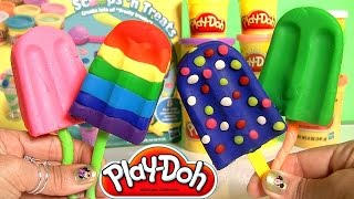 Play Doh Popsicles Scoops 'n Treats DIY Rainbow Popsicle Ice Cream
