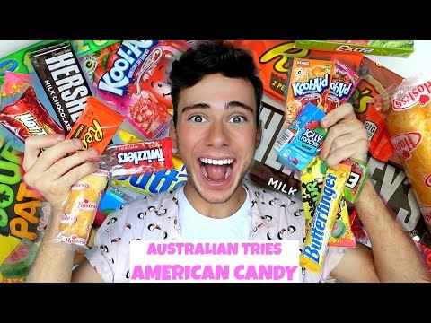 AUSTRALIAN TRIES AMERICAN CANDY!!! (ULTIMATE TASTE TEST)