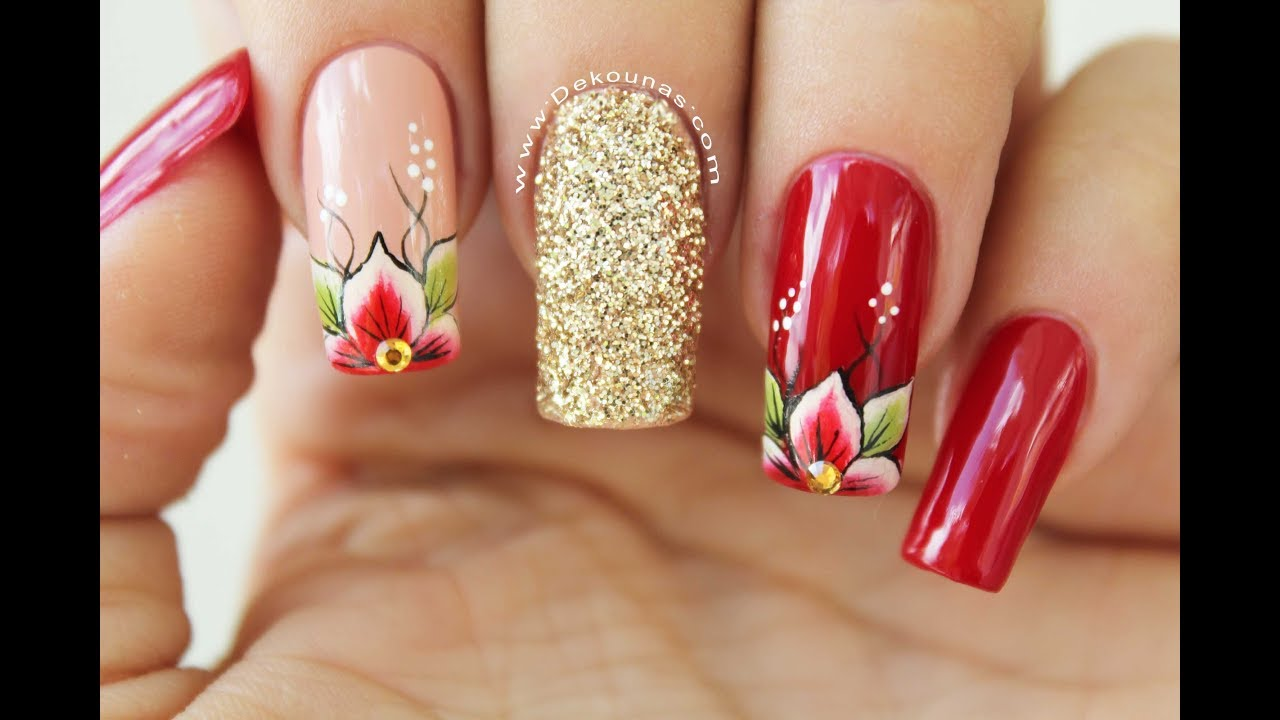 Diseno De Unas Flores Rojas Red Flowers Nails Design Youtube