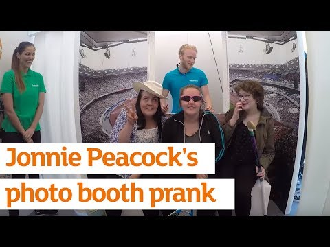 Paralympian Jonnie Peacock surprises some School Games athletes in a fun photo booth prank