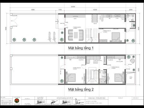 Thiết kế nhà 2 tầng kích thước 6x12m