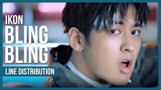 iKON - BLING BLING (블링블링) Line Distribution (Color Coded)