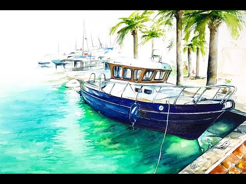 Watercolor Yacht Painting Tutorial