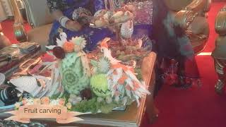 Bridal table decoration/গায়ে হলুদের টেবিলের সামনে খাবারের ডেকেরেশন
