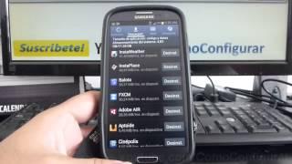 como ingresar administrador de aplicaciones samsung Galaxy s3 i9300 español Full HD