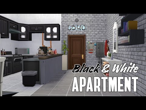 The Sims 4 Speed Build || BLACK & WHITE APARTMENT (No cc)